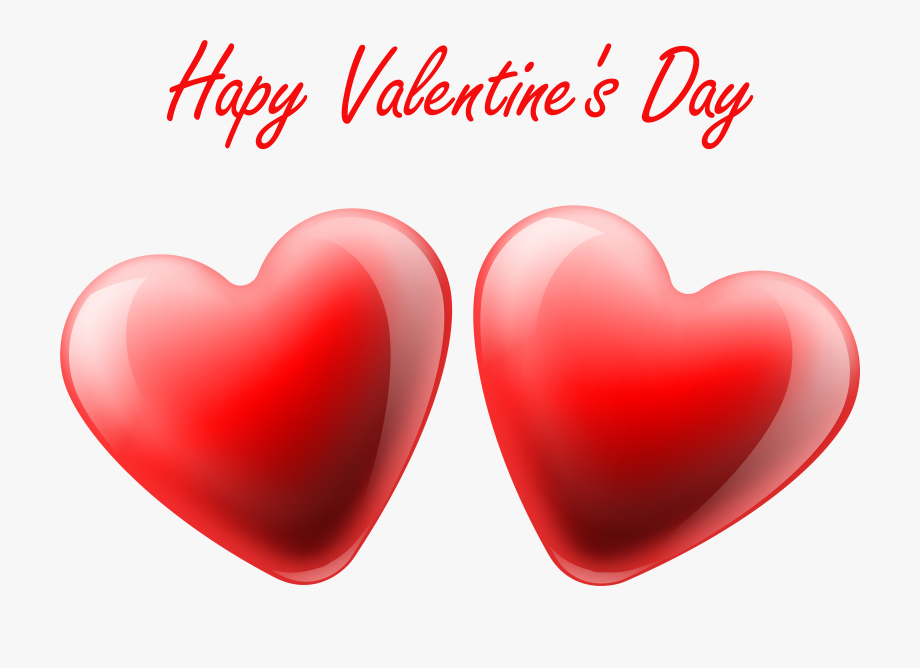 Happy Valentine\'s Day Hearts Transparent Png Clip Art.