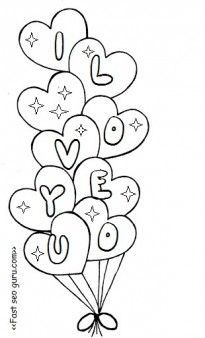 Free printable valentine heart balloons coloring pages for.