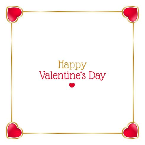 Valentines day frame with hearts on white background.