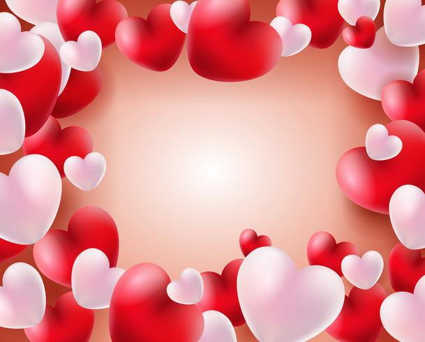 Valentines day background with red and white balloons 3d.