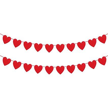 KATCHON Felt Heart Garland Banner.