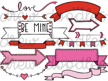 Valentine\'s Day Banners and Arrows Digital Clip Art Set.