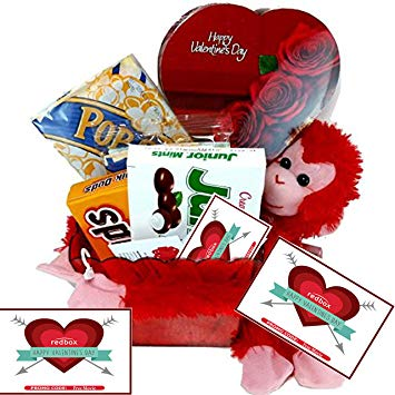 Valentines Day Movie Night Gift Basket ~ Includes a Box of Chocolates,  Popcorn, Concession.