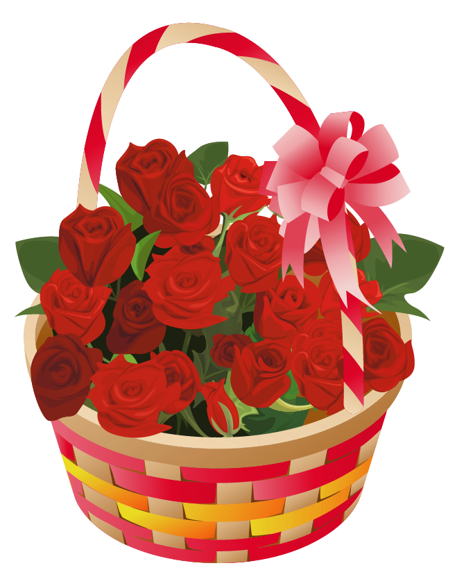 Roses Basket PNG Clipart.