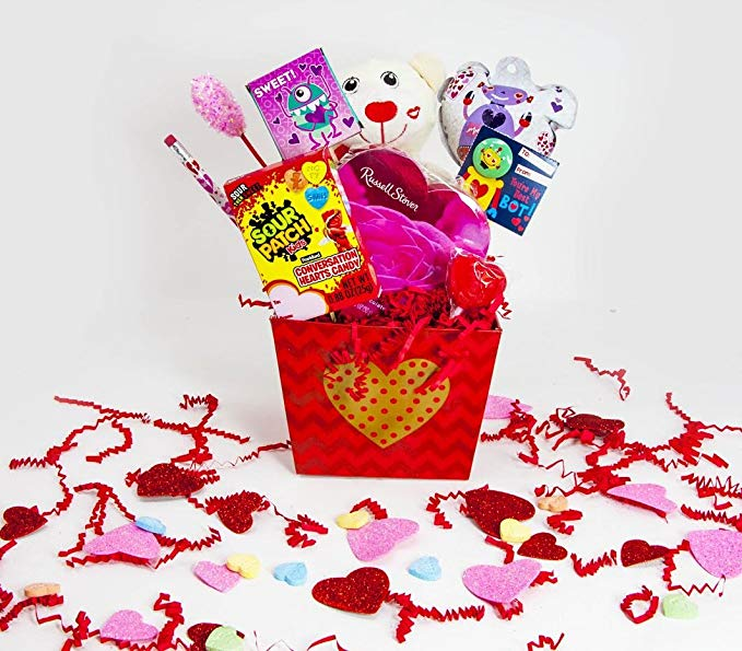 Cute Kids Valentine\'s Day Candy Bouquet Gift Basket ~ Decorated Bouquet  with Assorted Favors and Treats.