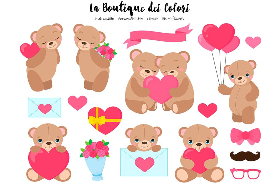 Valentine\'s Day Bears Clip Art ~ Illustrations ~ Creative Market.
