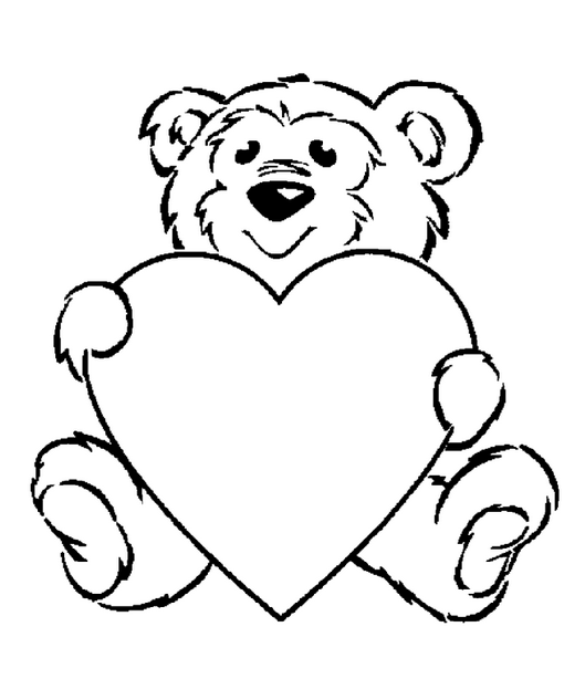 Valentines Day Coloring Pages Teddy Bear.