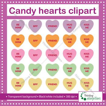Valentine\'s Day Conversation hearts clip art.