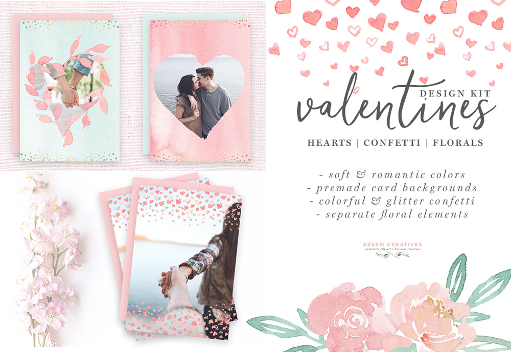 Watercolor Valentines Day Cards, Hearts Clipart, Confetti PNG Borders,  Photo Card Templates.
