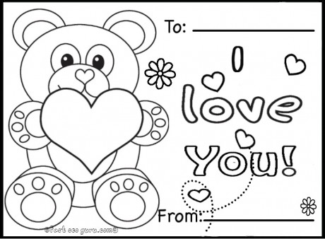 Coloring Pages For Valentines Day Cards.