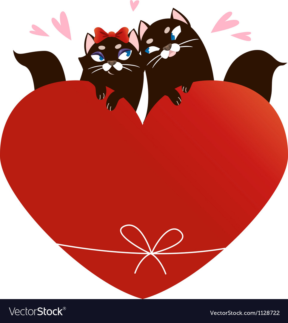 Valentines Day Card with black cats.
