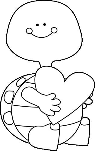 Black and White Valentine\'s Day Turtle.