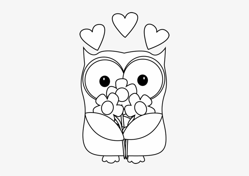 Black And White Valentine\'s Day Owl Clip Art.