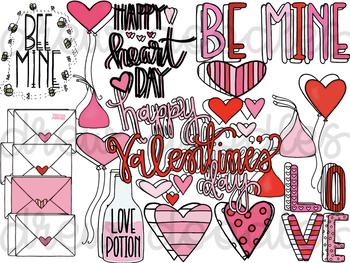 Valentine\'s Day Doodles Digital Clip Art Set.