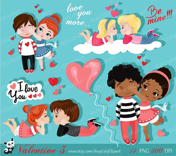 Valentine kids clipart 3 , My Cute Valentine, digital clip.