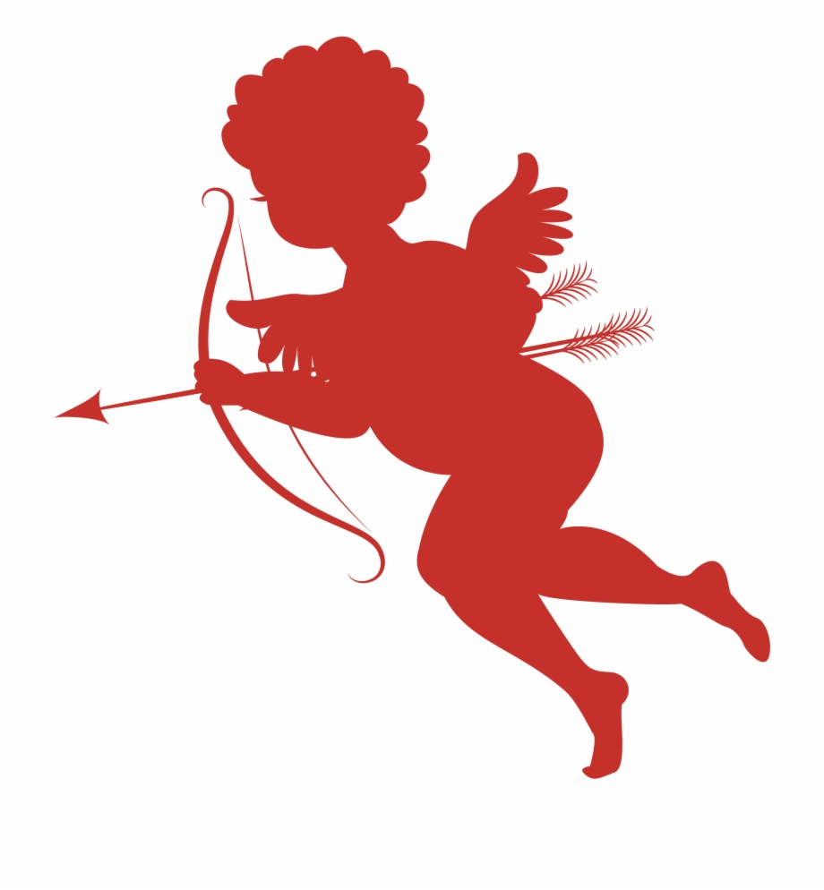 Red Cupid Silhouettes Png Picture.