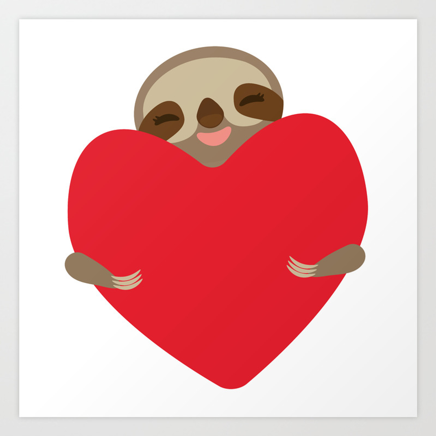 Valentines day card. Funny sloth with a red heart Art Print.
