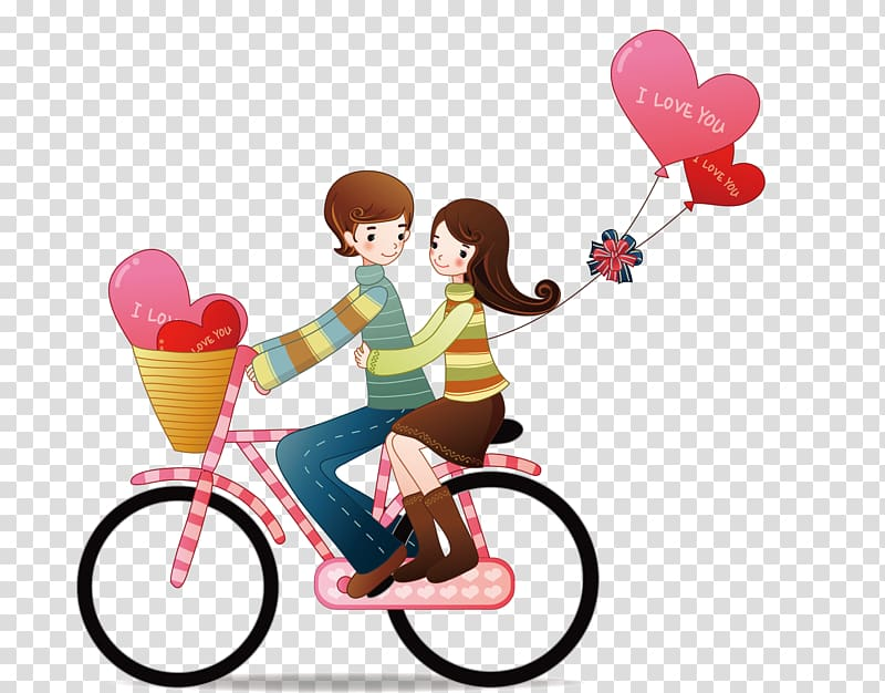 Boy and girl riding bicycle, Love Romance couple Passion.