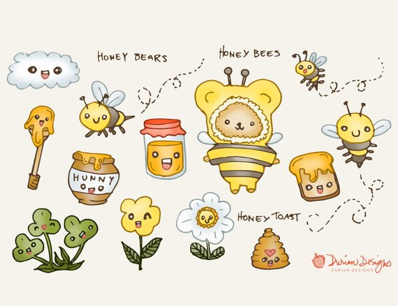 Honey bear and bees clip art commercial use, cute bumblebees.
