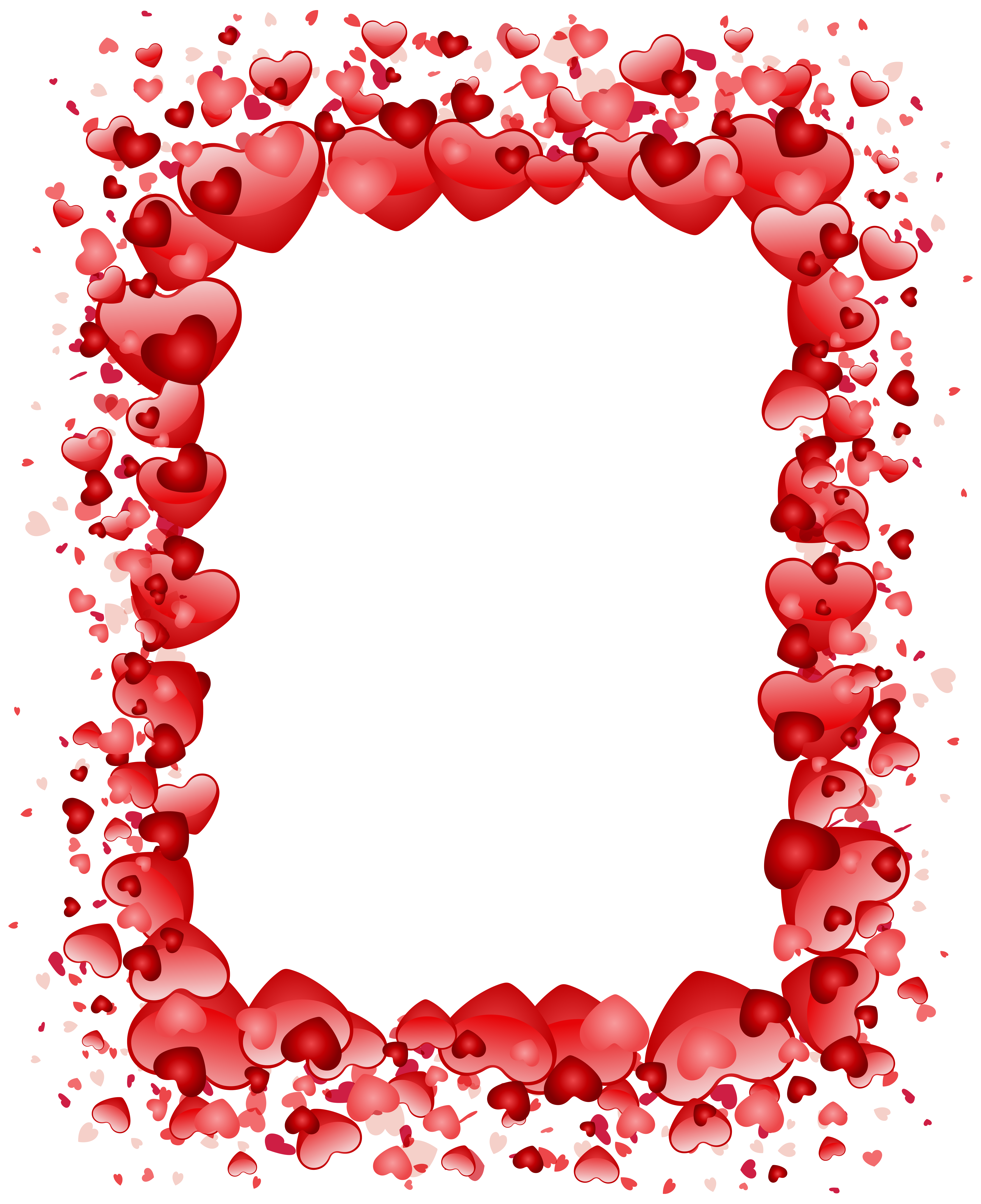 Valentine's Day Hearts Border Transparent PNG Clip Art Image.