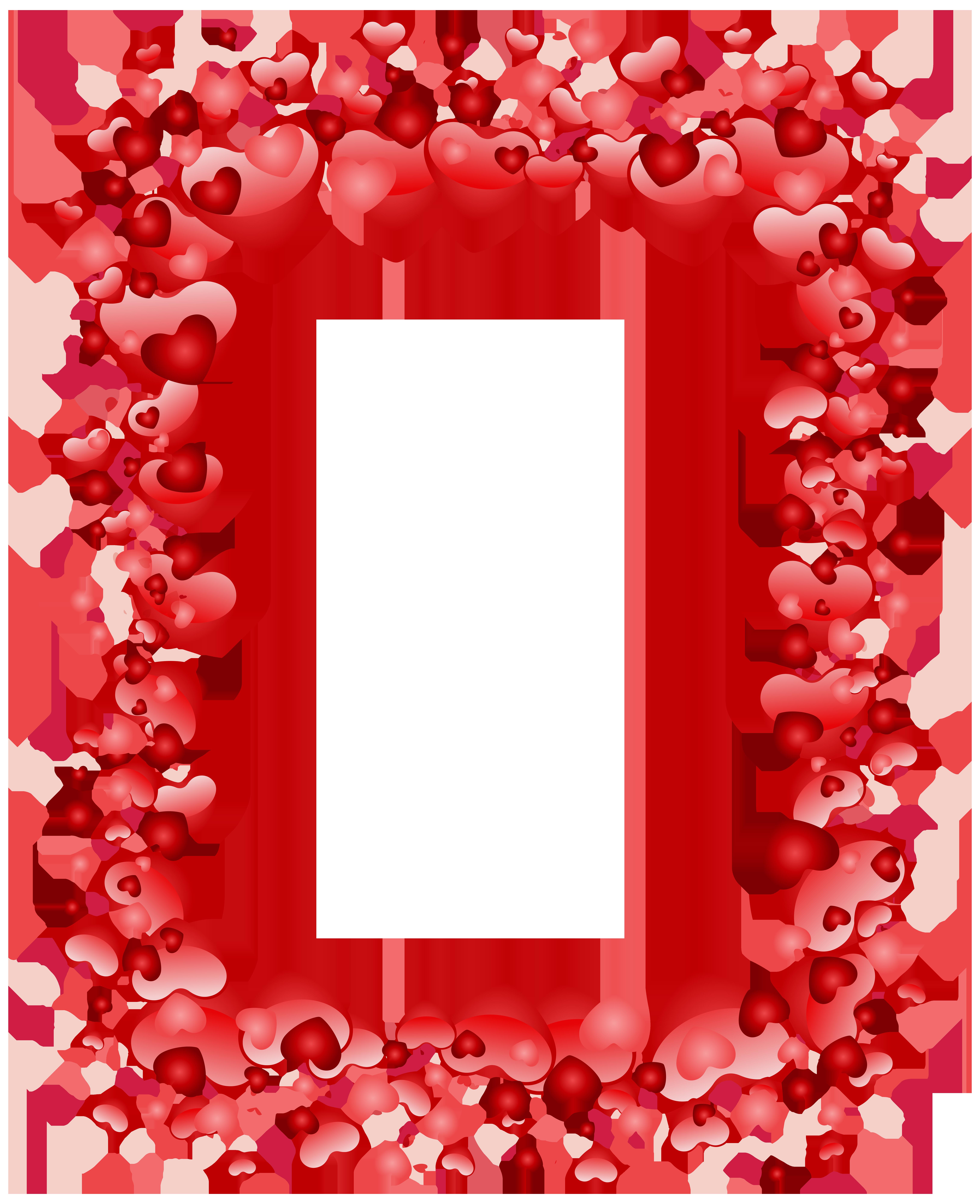 Valentine's Day Hearts Border Transparent PNG Clip Art Image.