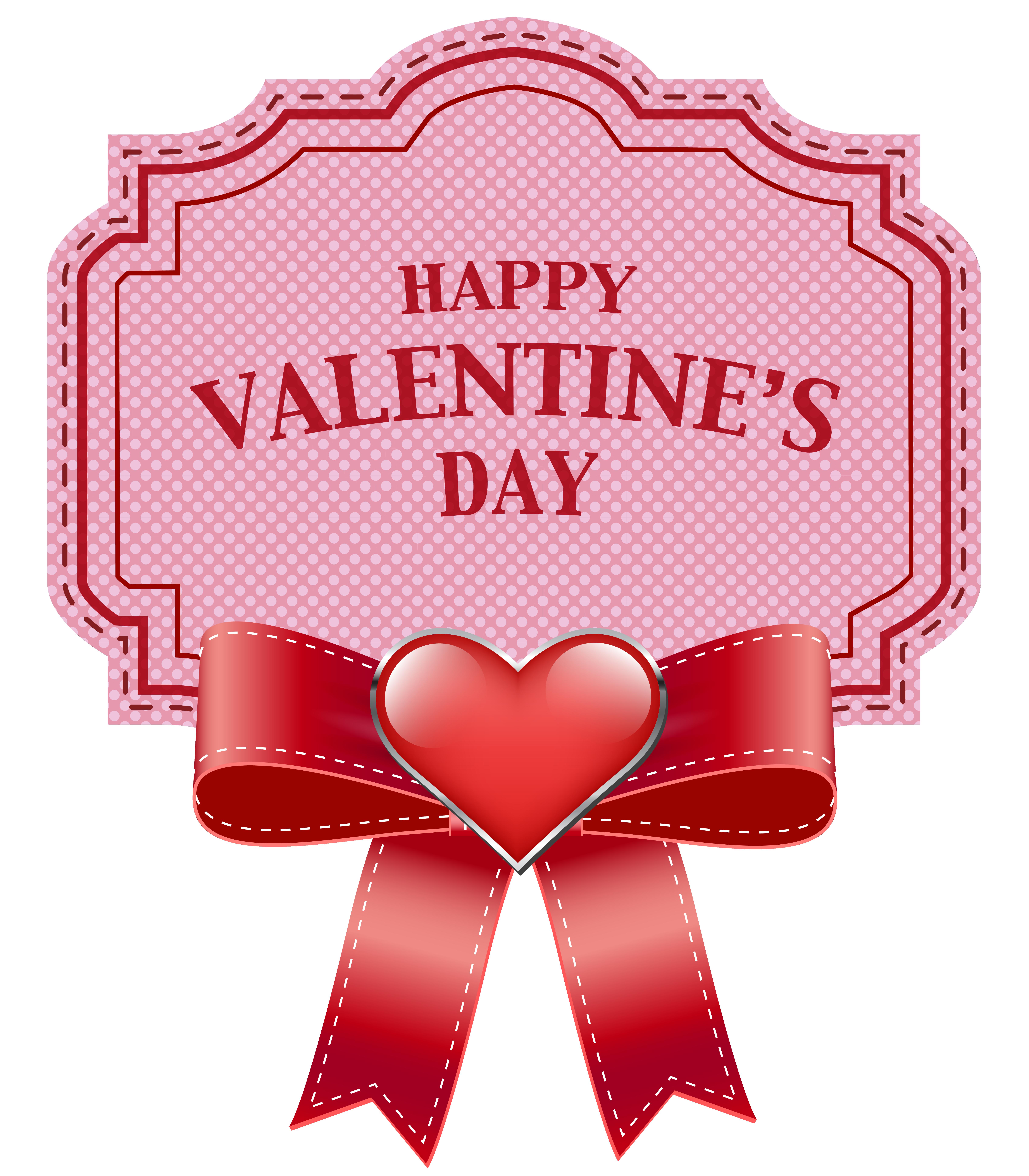Happy Valentine's Day Label Transparent PNG Clip Art Image.