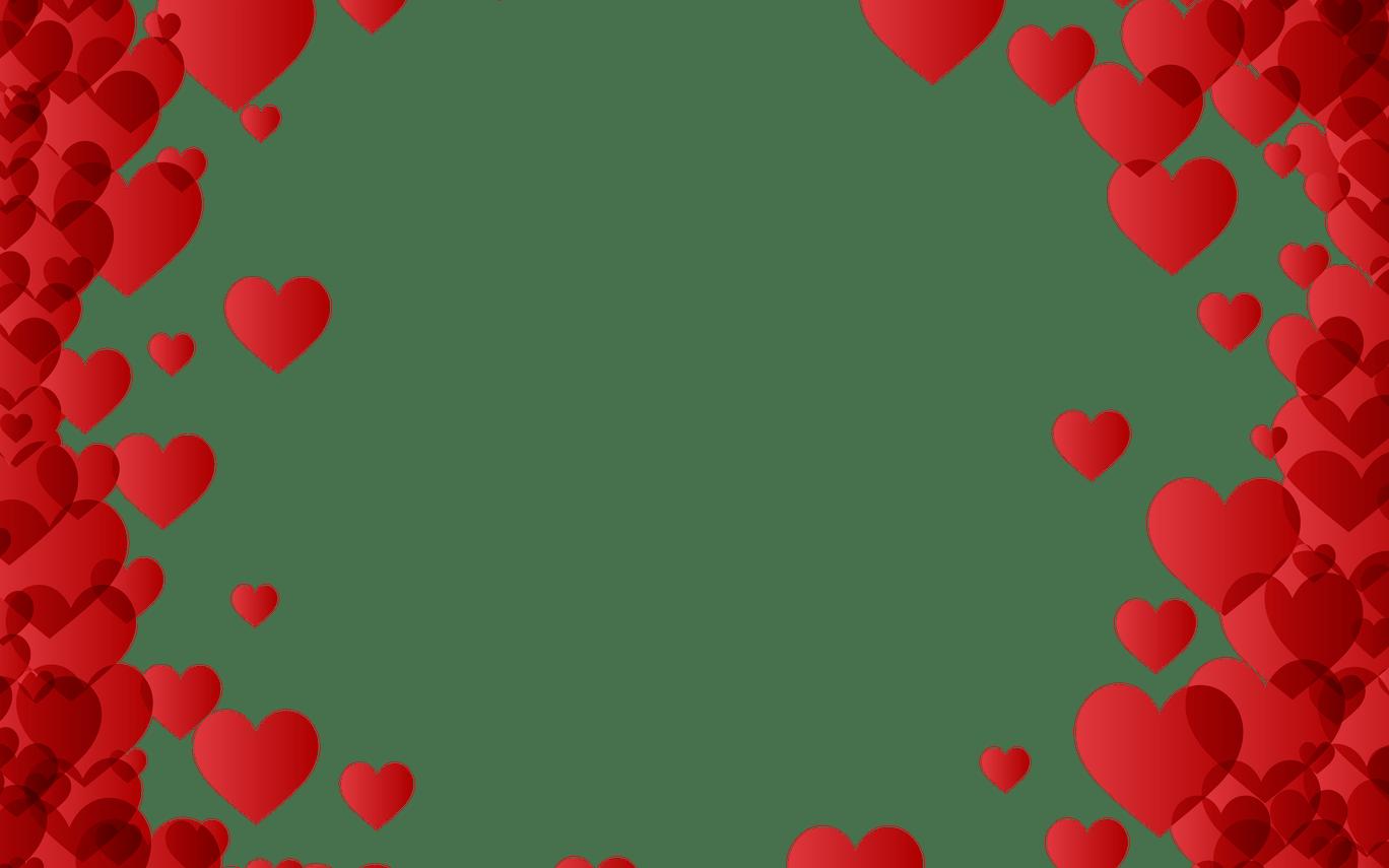 HD Valentine\'s Day Heart Border Frame Transparent Image.