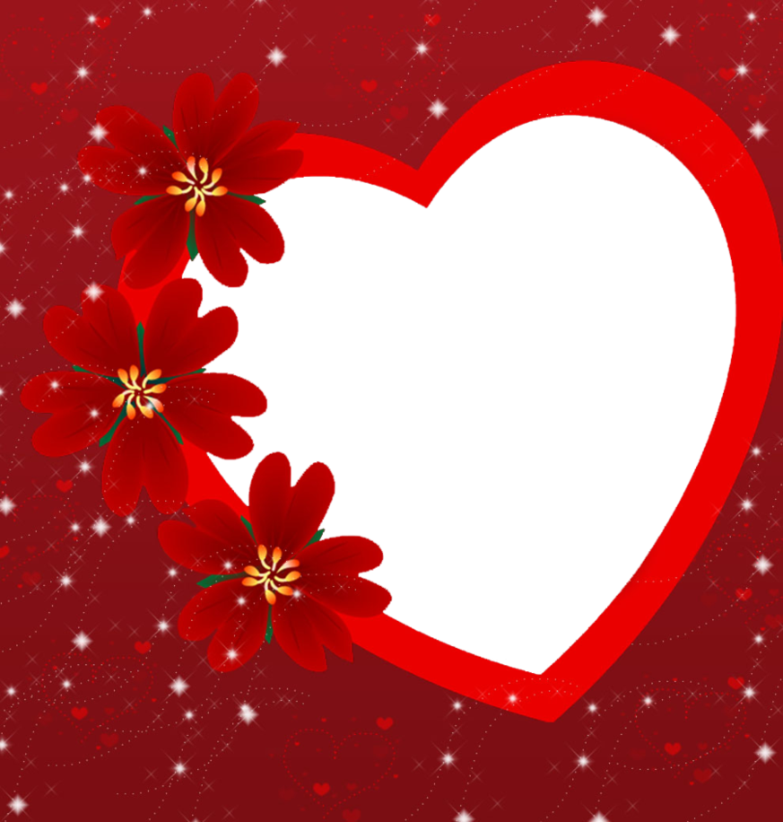Valentines Day Heart Frame PNG Photo.