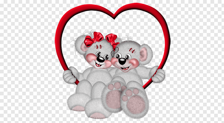 Two gray bears illustration, Valentine\'s Day Happiness Heart.