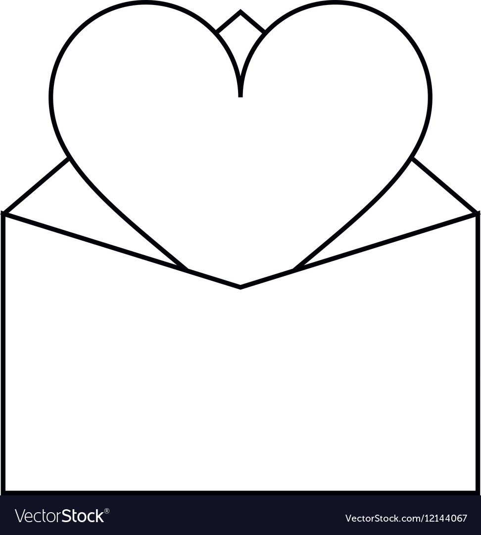 Valentines day romantic mail heart envelope open.