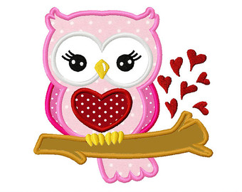 Valentines day owl clipart.