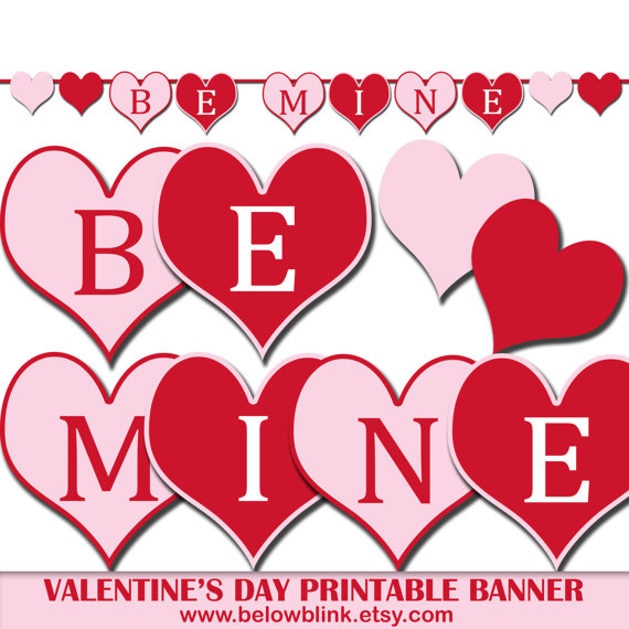 Be Mine Valentine's Day Banner Printable Photo Prop.