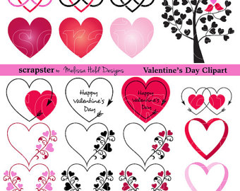 Valentines CLIPART, 14 romantic drawings. Valentines day clipart.