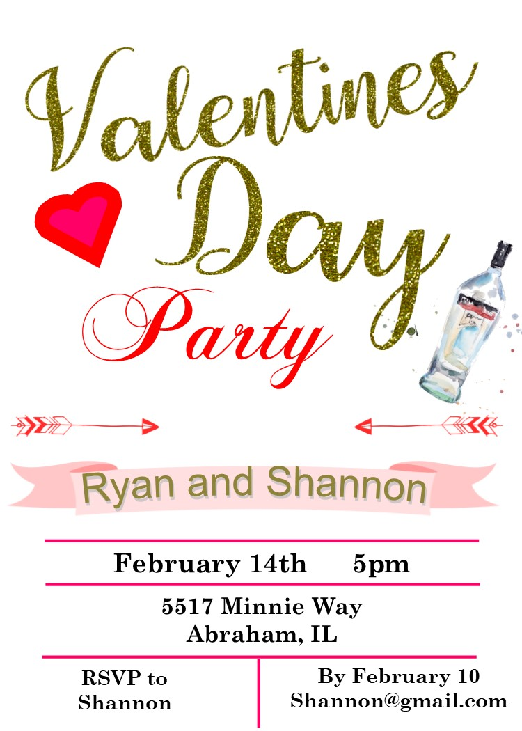 Valentine\'s Day Party Invitations 2019.