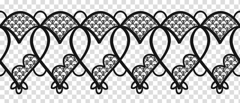 Valentine day lace, black heart pattern transparent.