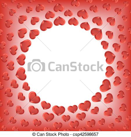 Valentines Day Background. Red Hearts Frame. Vector Frame with Space for  your Text..