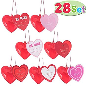 28 Pack Kids Valentines Cards with Translucent Valentines Hearts for  Filling Specific Treats, Valentine\'s Day Party Favor, Classroom Exchange  Party.