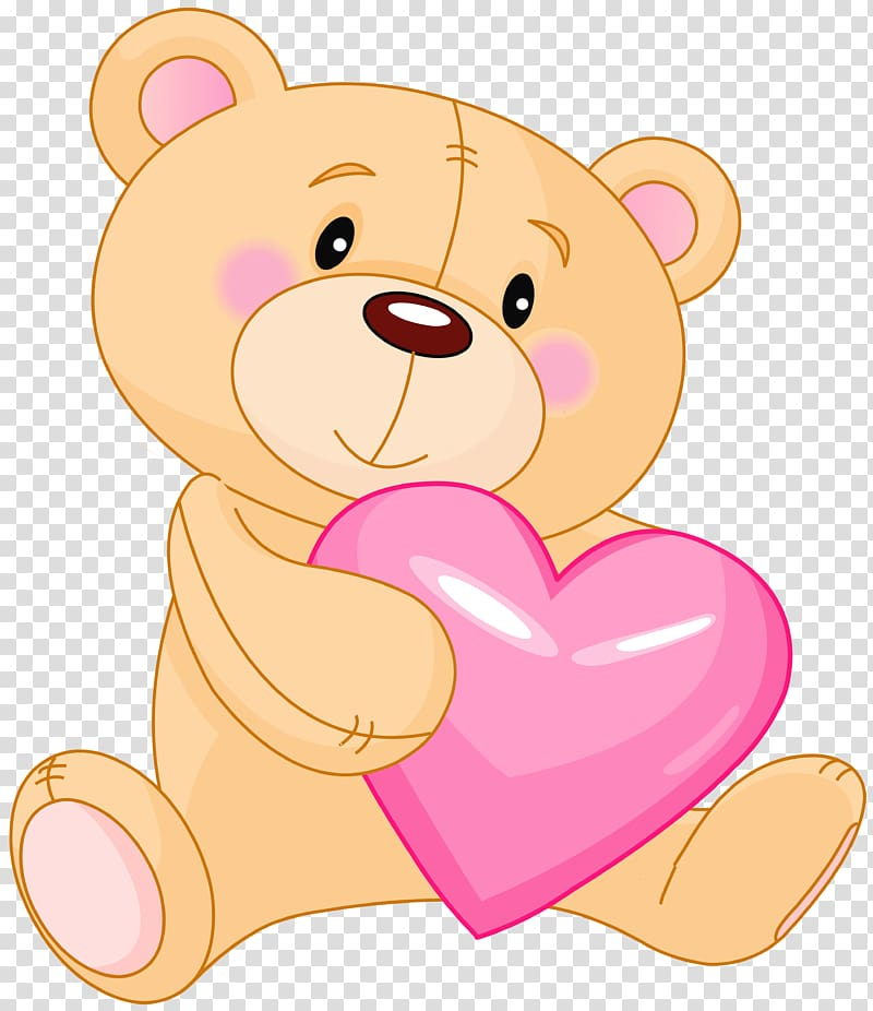 Teddy bear Giant panda , Cute Teddy with Pink Heart , brown.