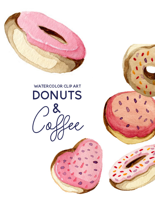 Donuts and Coffee Valentines Day Clip Art.