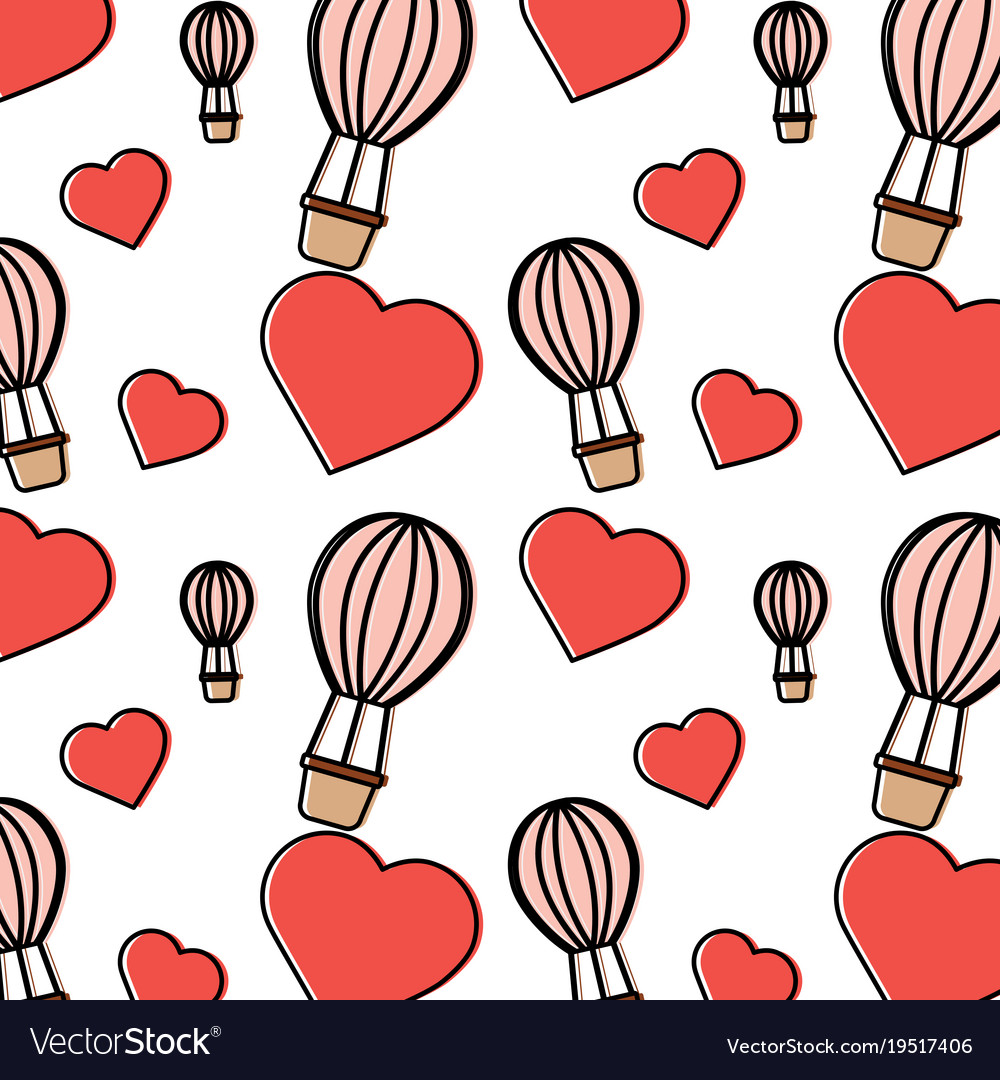 Hot air balloon heart valentines day pattern image.