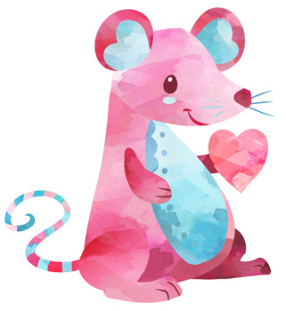 Valentines Day Mouse Clipart.
