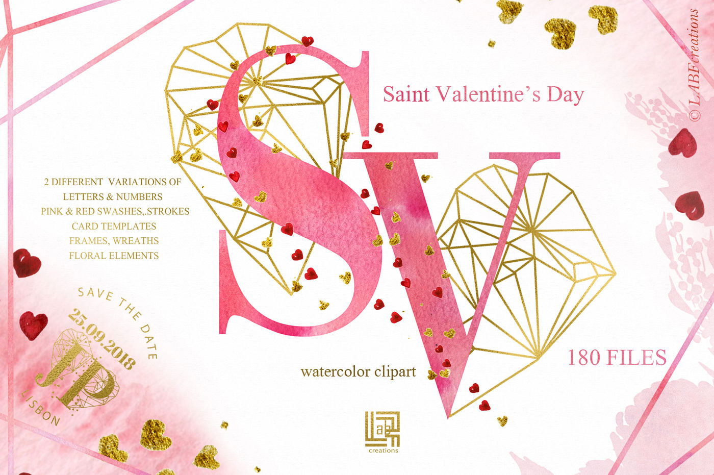 Saint Valentine\'s Day watercolor By LABFcreations.