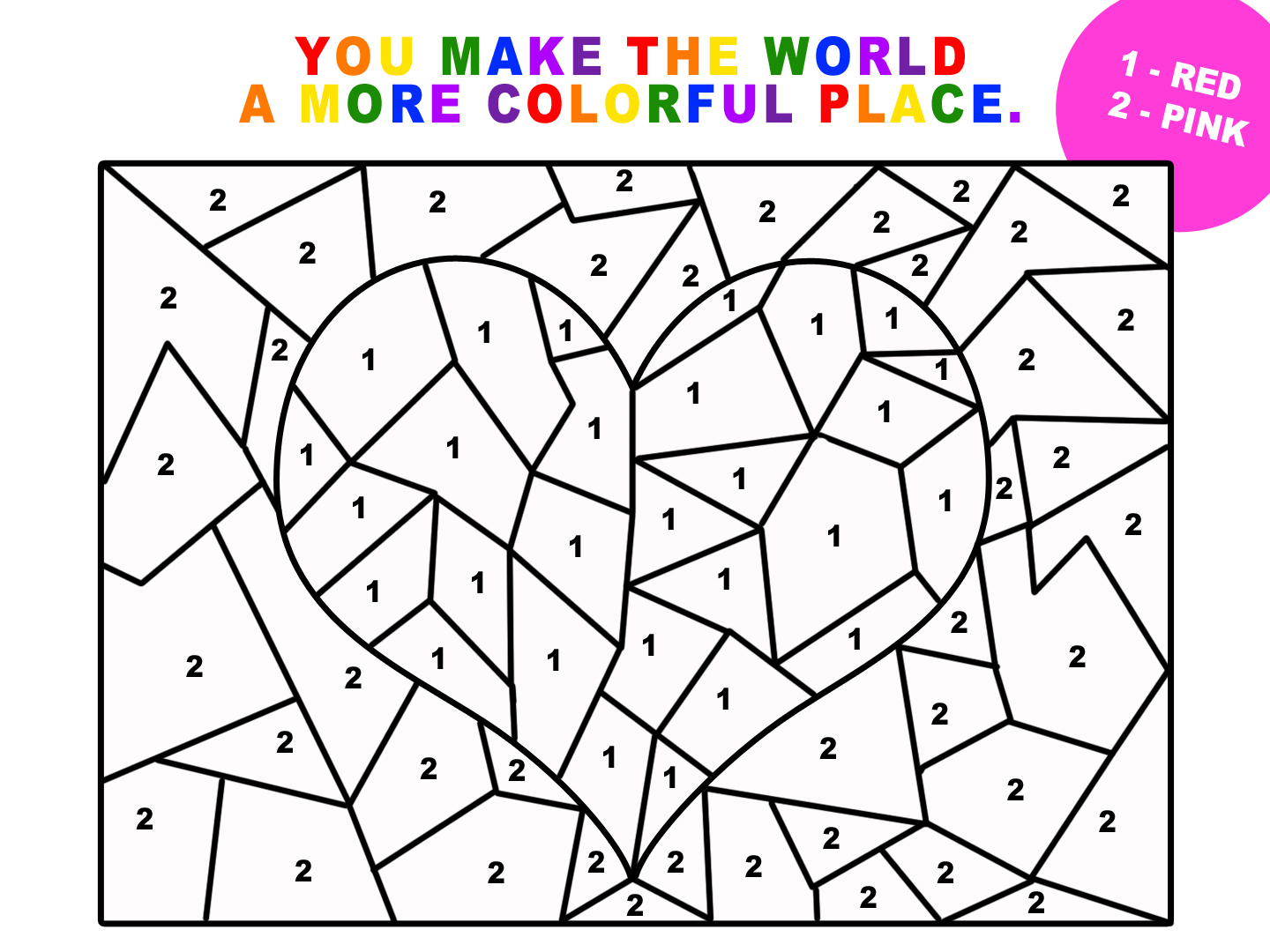 Valentine\'s Day Coloring Pages By Numbers.