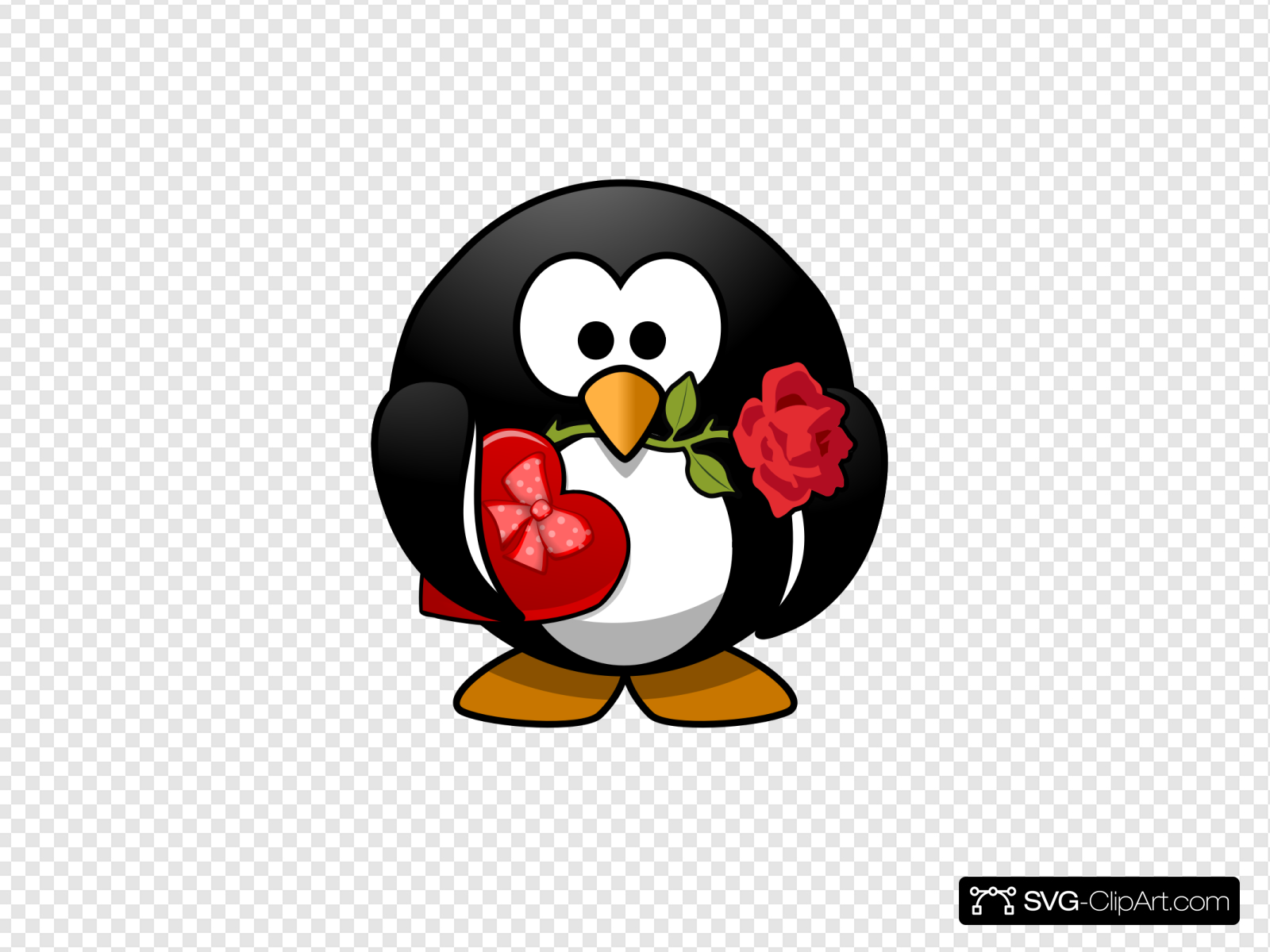 Valentines Day Penguin Clip art, Icon and SVG.