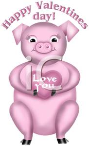 A Happy Pink Pig Holding an I Love You Heart, with a Happy.