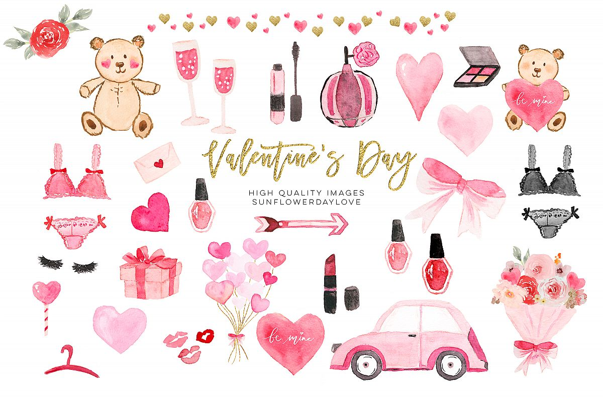Valentines Day Planner Cliparts, Watercolor Heart Clipart.