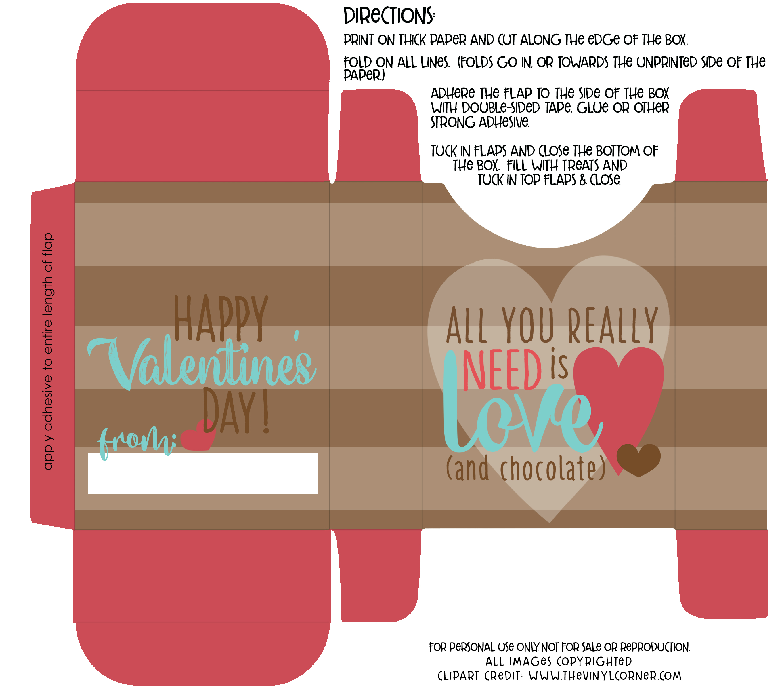 DIY Love And Chocolate Valentine Treat Box with Free Printable.