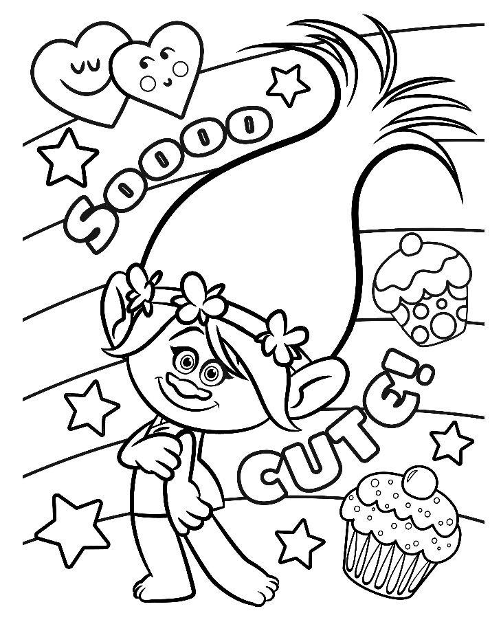 Trolls Valentine Coloring Pages.