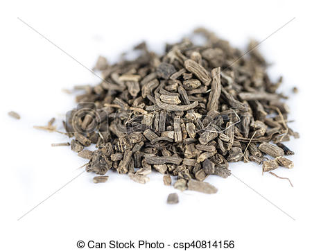Stock Images of Dried Valerian roots on white.