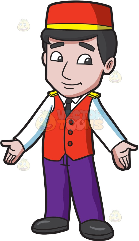A Parking Valet Welcoming Some Guests Cartoon Clipart.